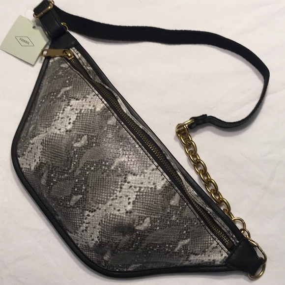 Fossil Handbags - NWT Fossil Belt Bag Python Print